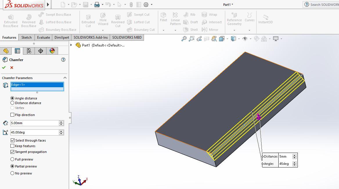 Thao tác vào hộp thoại Chamfer |thiết kế 3D trong Solidworks|