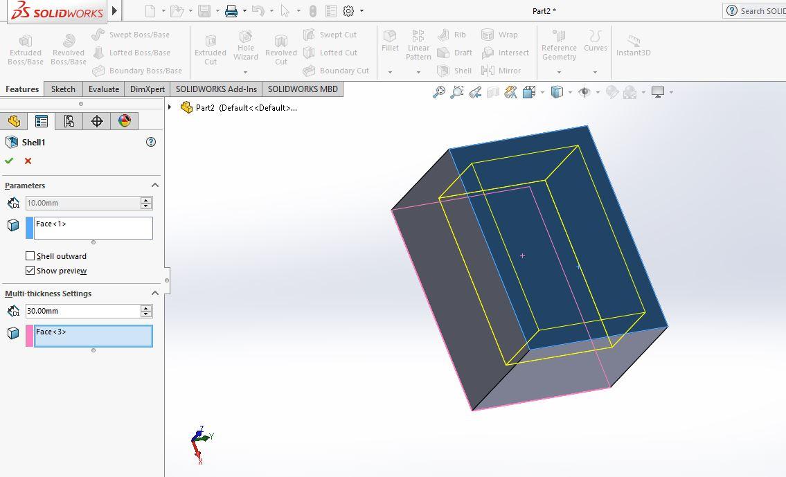 Thao tác vào hộp thoại Shell |thiết kế 3D trong Solidworks|