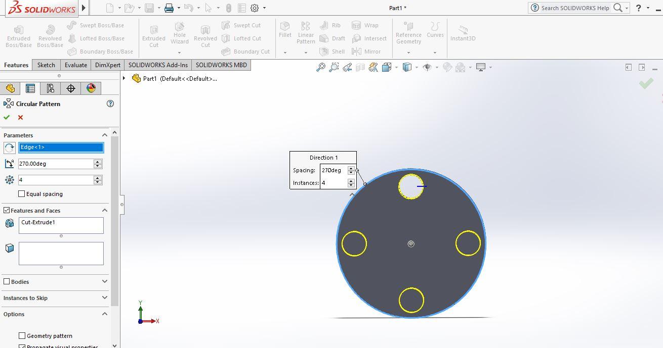 Thao tác hộp thoại Circular Pattern |thiết kế 3D trong Solidworks|