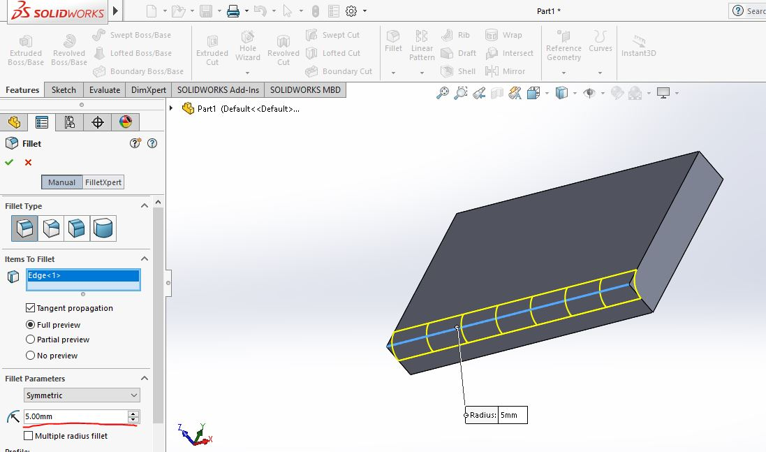 Thao tác vào hộp thoại Fillet |thiết kế 3D trong Solidworks|