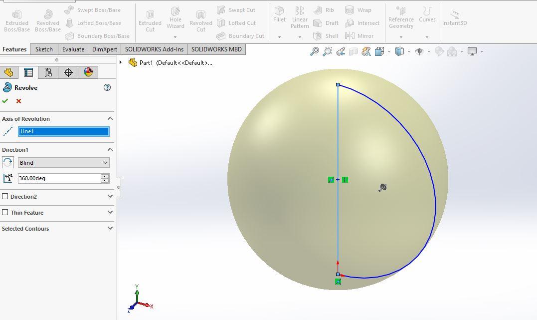 Thao tác vào hộp thoại Revolve |thiết kế 3D trong Solidworks|